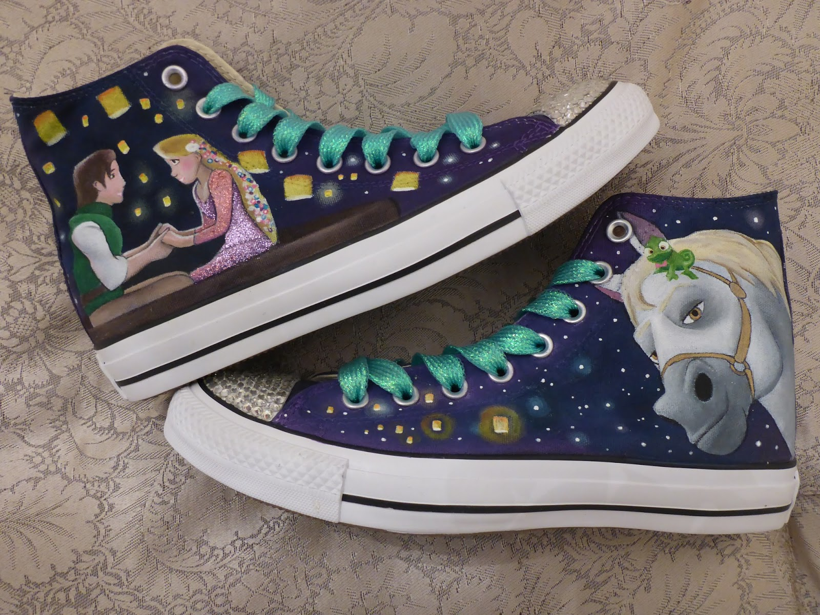 Look Good Shoes Trolls Disney Converse All Star Style Hi Tops Girls Cartoon Bling Sneakers S1494400000185 Outlet